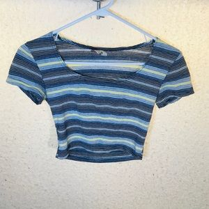 Vintage crop top blue and yellow stripes